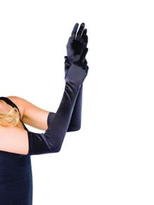 Gloves Satin Over Elbow Black