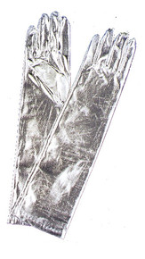 Gloves Elbow Length Silver Metallic