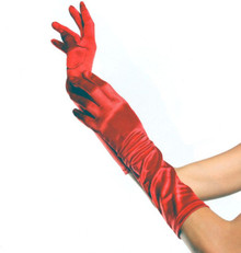 Gloves Elbow Length Satin Red