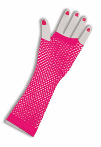 Gloves Fingerless Fishnet Long Pink