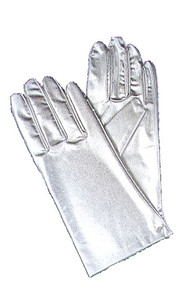 Gloves Silver Metallic Wrist Length