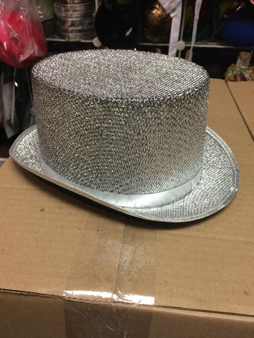 025d8f4ada4 ... 12pc Silver Sequined Top Hats. Image 1. Loading zoom