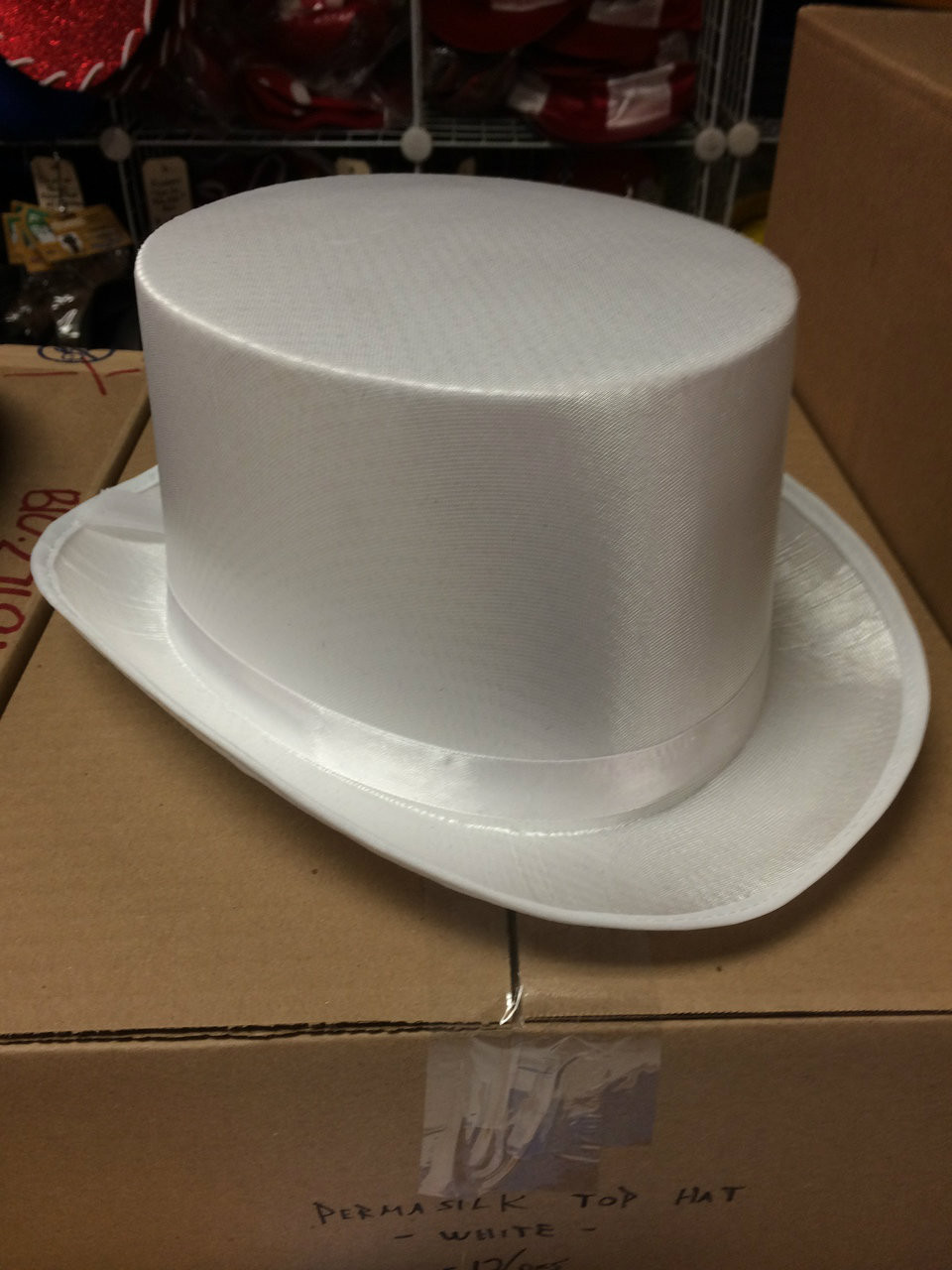ad83a6be141 ... 12pc White Permasilk Top Hats. Image 1. Loading zoom