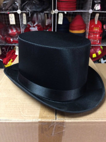 12pc Black Satin Top Hats
