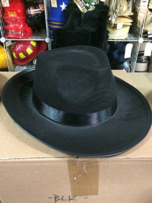 12pc Solid Black Gangster Fedora Hats