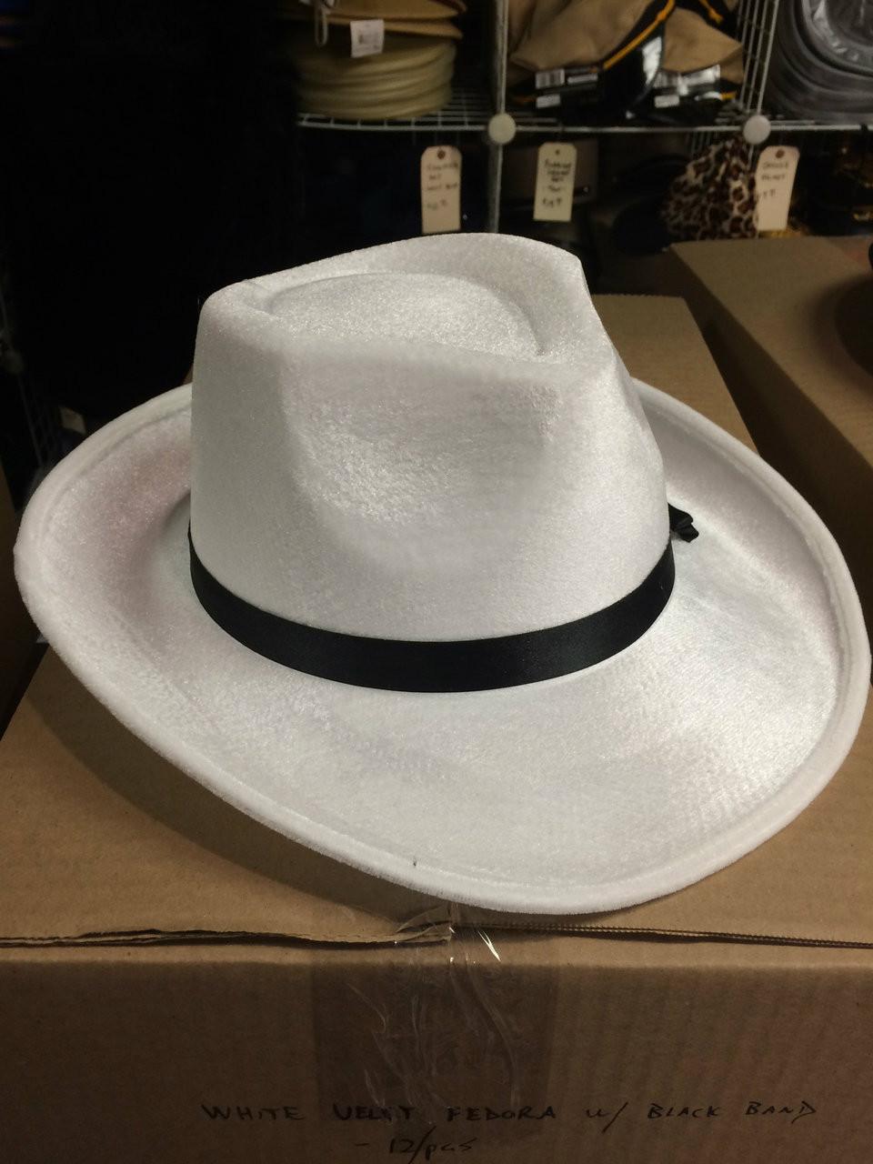 3b9ec1f4438 12pc White Velvet Fedora Hats w  Black Band - FantasyCostumes.com