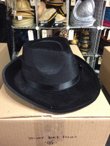 12pc Black Velvet Fedora Hats