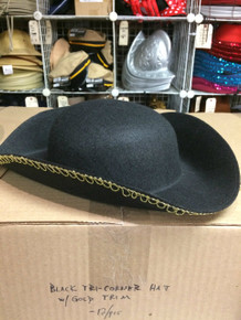 12pc Black Tricorner Hats w/ Gold Trim