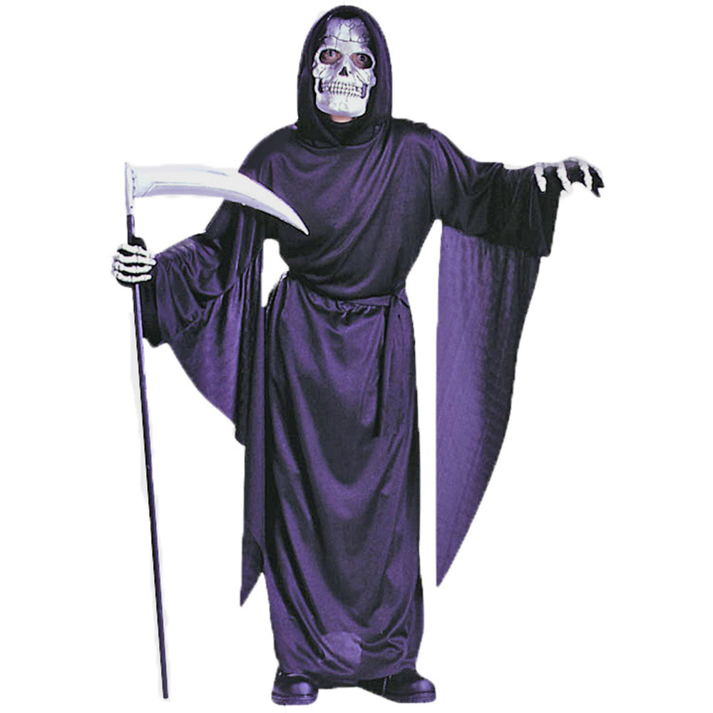 Grim Reaper Costume Kids Scary Halloween Fancy Dress