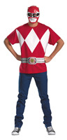 Power Rangers Shirt & Mask Set Red  Adult