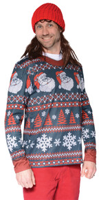 Ugly Santa Stripe Adult Christmas Sweater