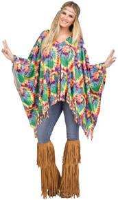 Tye Dye Hippie Adult Poncho