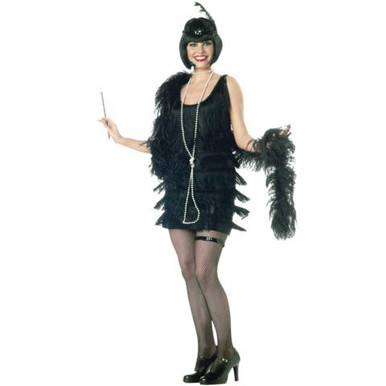 FLAPPER COSTUME ADULT BLACK