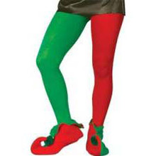 Elf Tights Adult Rd/Grn