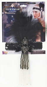 Flapper Headband w/ Feather Black Deluxe
