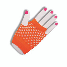 Gloves Neon Orange Fingerless Fishnet
