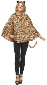 Hooded Leopard Adult Poncho