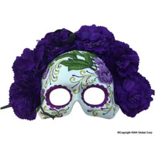 Day of the Dead Purple Flowered Half Mask