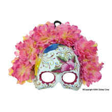Day of the Dead Pink Flowered Half Mask