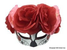 Day of the Dead Female Skull Flowered Half Mask