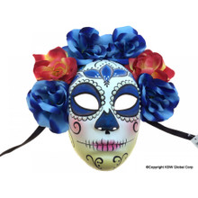 Day of the Dead Female Skull Flowered Full Mask