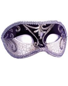 Silver/Black Elegant Masquerade Half Mask