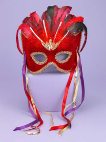 Red & Black Venetian Couple Female Mask