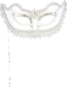 White Venetian Mask w/ Stick