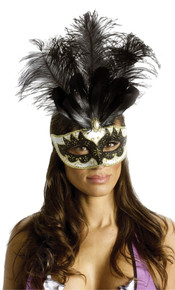 Black & Gold Carnival Feathered Mask