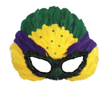 Mardi Gras Colored Sequin Feathered Eyemask