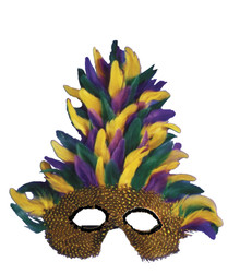 Tall Mardi Gras Feathered Eyemask