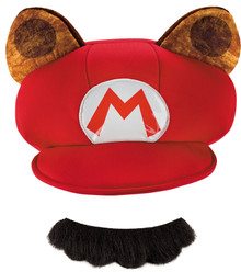 Raccoon Mario Hat & Mustache Adult Kit