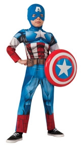 Child Deluxe Muscle Captain America Costume Medium