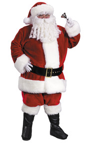 Men's Plus Size Premium Plush Red Santa Suit