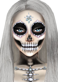 Skeleton Jeweled Face & Chest Sticker