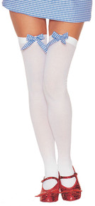 White & Blue Thigh-Highs With Bow