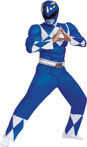 Men's Blue Ranger Classic Muscle Costume - Mighty Morphin-2xl