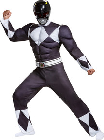 Men's Black Ranger Classic Muscle Costume - Mighty Morphin
