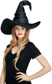 Curved Cone Witch Hat - Black