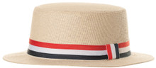 Straw Hat With Flag Band - Adult