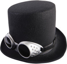 Steampunk Hat W/Goggles-Black