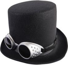 Steampunk Hat W/Goggles-Black
