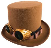Steampunk Hat W/Goggles Brown
