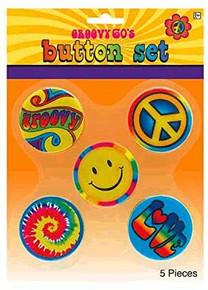 Hippie Button Pins- Groovy 60's