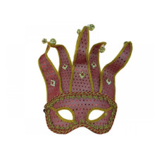 Venetian half face Jester Mask- Red