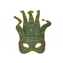 Venetian half face Jester Mask with Bells