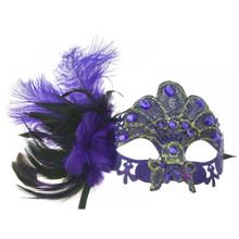 Venetian mask Purple lace w/ feather