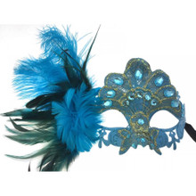 Venetian mask Sky blue lace w/ feather