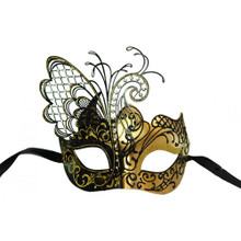 Venetian mask w/ metal butterfly wing laser-cut and crystals Black/Gold