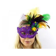Venetian Mardi Gras mask with feather -PGG